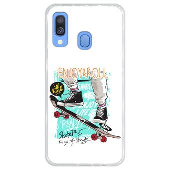 Capa Hapdey para Samsung Galaxy A40 2019 Design Skate Enjoy & Roll em Silicone Flexível e TPU