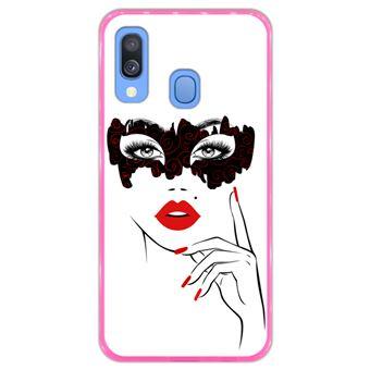 Capa Hapdey para Samsung Galaxy A40 2019 Design Mulher com Máscara e Lábios Vermelhos em Silicone Flexível e TPU Cor-de-Rosa