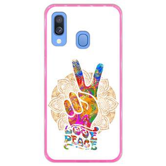 Capa Hapdey para Samsung Galaxy A40 2019 Design Mandala Amor e Paz em Silicone Flexível e TPU Cor-de-Rosa