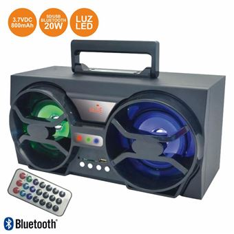 Coluna Bluetooth Portátil Inovalley 20W Leds Bt/Usb/Sd/Aux/Bat