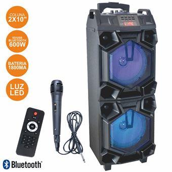 "Coluna Bluetooth Portátil Inovalley 2X10"""" 600W Usb/Bt/Aux/Bat Led Rgb"