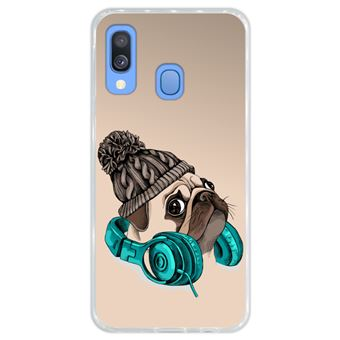 Capa Hapdey para Samsung Galaxy A40 2019 Design Hipster Pug A Música é a Minha Fuga em Silicone Flexível e TPU