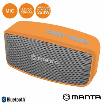Coluna Bluetooth Portátil Manta 2X3W Usb/Sd/Aux/Fm/Bat/Mic