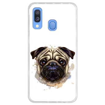 Capa Hapdey para Samsung Galaxy A40 2019 Design Retrato de Pug em Silicone Flexível e TPU