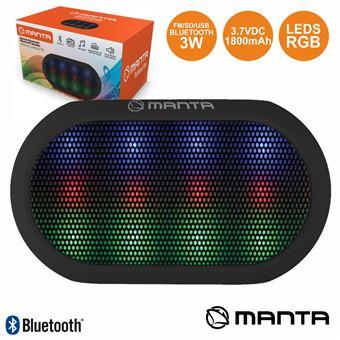 Coluna Bluetooth Portátil Manta 3W Usb/Sd/Fm/Aux/Bat Leds