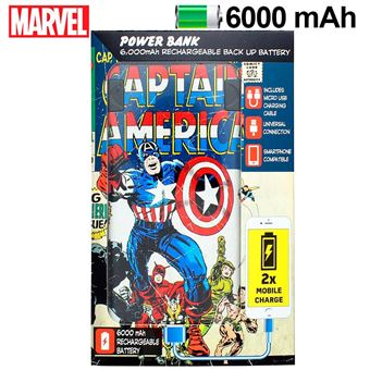 Power Bank Oficial Marvel Micro-USB 6000 mAh Capitão América