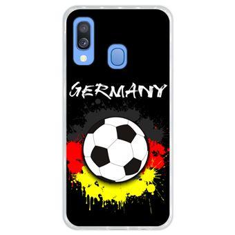 Capa Hapdey para Samsung Galaxy A40 2019 Design Bola de Futebol e Cores da Alemanha em Silicone Flexível e TPU