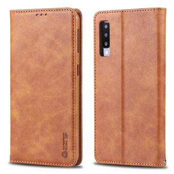 Capa PU estilo retro com titular do cartão marrom para Samsung Galaxy A50