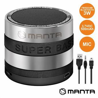 Coluna Bluetooth Portátil Manta Metálica 3W Usb/Sd/Aux/Fm/Bat/Mic