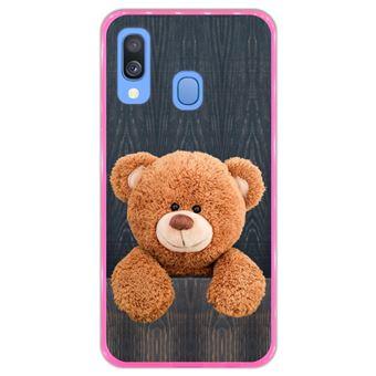 Capa Hapdey para Samsung Galaxy A40 2019 Design Urso de Peluche em Silicone Flexível e TPU Cor-de-Rosa