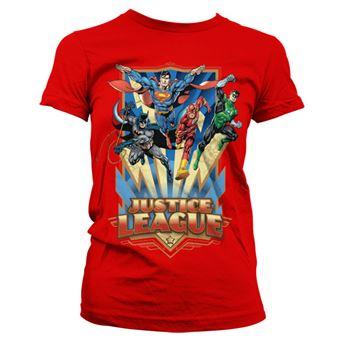 T-shirt para Mulher Justice League - Team Up! | Vermelho | M