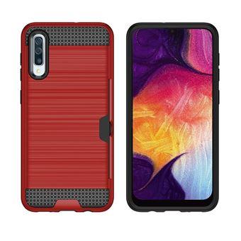 Capa Magunivers para Samsung Galaxy A50 e TPU Híbrido com Slot para Cartão Vermelho