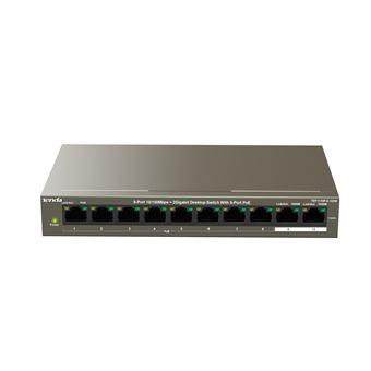 Tenda TEF1110P-8-102W Fast Ethernet (10/100) Cinzento Apoio Power over Ethernet (PoE)