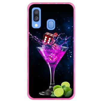 Capa Hapdey para Samsung Galaxy A40 2019 Design Cocktail de Dados e Limão em Silicone Flexível e TPU Cor-de-Rosa