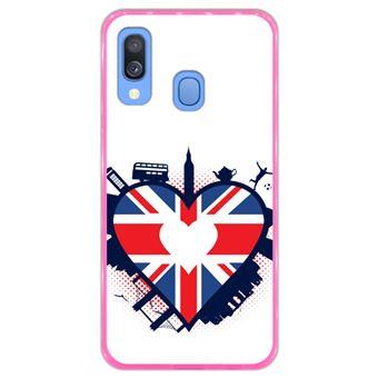 Capa Hapdey para Samsung Galaxy A40 2019 Design Bandeira do Reino Unido em Forma de Coração em Silicone Flexível e TPU Cor-de-Rosa