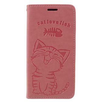Capa PU gato e espinha de peixe rosa para Samsung Galaxy S9