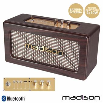 Coluna Bluetooth Vintage Madison 2X10W Usb Mogno
