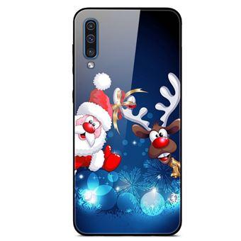 Capa Magunivers | TPU vidro rígido Papai Noel e bola para Samsung Galaxy A50s/A30s/A50