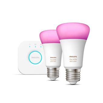 Iluminação inteligente Philips Ambiente branco e colorido Hue Kit inicial, E27