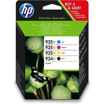 tinteiro HP 934XL High Yield Black/935XL Cyan/Magenta/Yellow 4-pack 9.5ml 25.5ml 1000páginas 825páginas Preto, Ciano, Amarelo