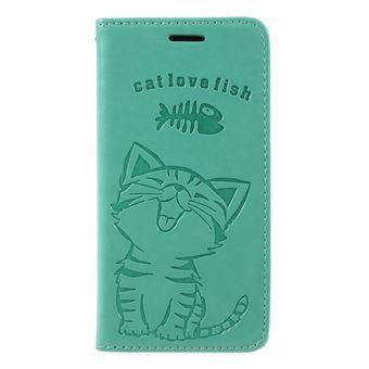 Capa PU gato e espinha de peixe verde para Samsung Galaxy S9