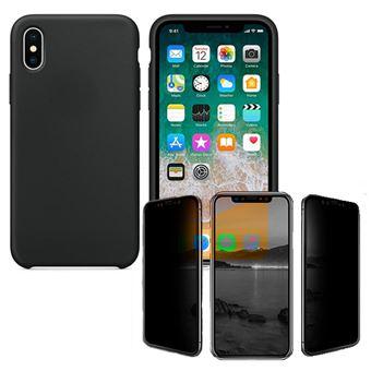 Kit Película de vidro anti-spy + Capa Silicone Liquido Phonecare para Iphone XR Preto