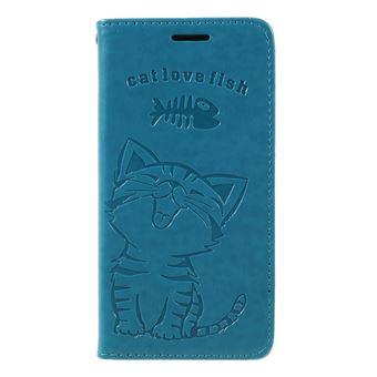 Capa PU gato e espinha de peixe azul claro para Samsung Galaxy S9