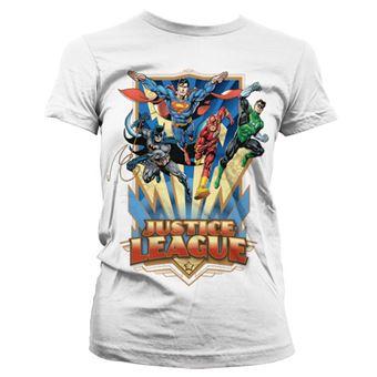 T-shirt para Mulher Justice League - Team Up!   Branco   L