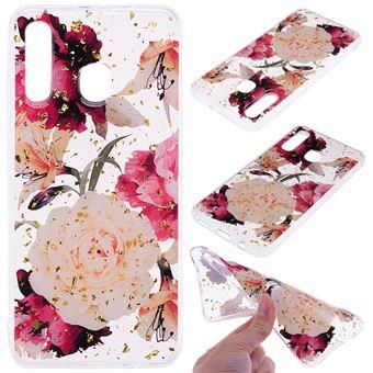 Capa TPU padrão impresso incrustado com glitter flores bonitas para Samsung Galaxy A50