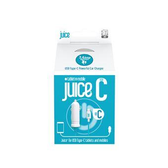 Carregador de dispositivos móveis juice jui-cchar-typec-2.4a automático azul, branco