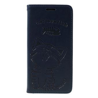 Capa PU gato e espinha de peixe azul escuro para Samsung Galaxy S9