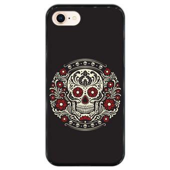 Capa Hapdey para iPhone 7 - 8 Design Caveira do Dia dos Mortos em Silicone Flexível e TPU Preto
