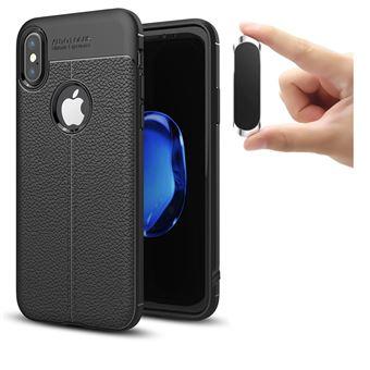 Capa PhoneShield Rugged Leather Anti-Choque + Suporte Magnético Multifunção para iPhone X - Preto