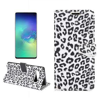 Capa Magunivers PU suporte com padrão de leopardo branco para Samsung Galaxy S10