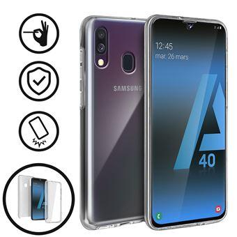 Capa Flip Avizar para Samsung Galaxy A40 360ª de Silicone e policarbonato Transparente