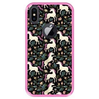 Capa Tpu Hapdey para Iphone X - Xs | Design Teste Padrão Floral com Unicórnios 2 - Rosa