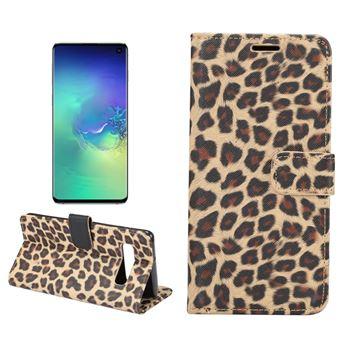 Capa Magunivers PU suporte com padrão de leopardo marrom para Samsung Galaxy S10