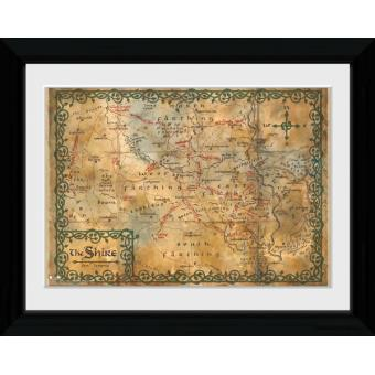 Poster Emoldurado The Hobbit Map 40 x 30 cm