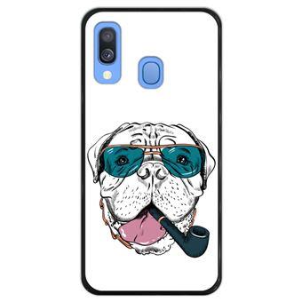 Capa Hapdey para Samsung Galaxy A40 2019 Design Cão Bullmastiff Hipster em Silicone Flexível e TPU Preto