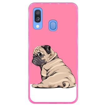 Capa Hapdey para Samsung Galaxy A40 2019 Design Pug Bebé a Posar 3 em Silicone Flexível e TPU Cor-de-Rosa