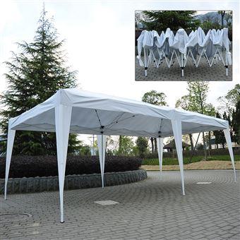 Tenda Gazebo Outsunny para Jardim | Branco - Tela de poliéster e Tubos de Aço - 6x3m - 18m2