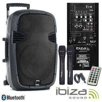 "Coluna Amplificada Ibiza 15"""" 700W Usb/Bt/Sd/Bat/2Xmic Vhf"