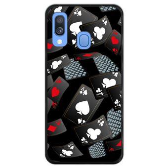 Capa Hapdey para Samsung Galaxy A40 2019 Design Cartas de Casino em Silicone Flexível e TPU Preto