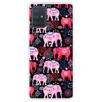 Capa Hapdey para Samsung Galaxy A71 | Silicone Flexível em TPU | Design Padrão brilhante de elefantes cor de rosa e vermelhos - Transparente
