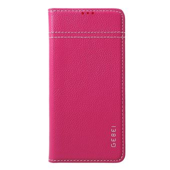 Capa Magunivers de couro genuíno litchi com suporte para cartão rosa para Samsung Galaxy S10