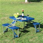 Conjunto de Mesa de Campismo Outsunny com 4 Cadeiras   Dobrável   Alumínio   84,5x64,5x66 cm