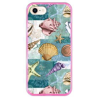 Capa Hapdey para iPhone 7 - 8 Design Conchas e Estrelas do Mar em Silicone Flexível e TPU Cor-de-Rosa