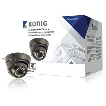 kONIG Cámara domo de seguridad con lente varifocal negra