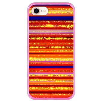 Capa Hapdey para iPhone 7 - 8 Design Fundo Colorido com Linhas em Silicone Flexível e TPU Cor-de-Rosa