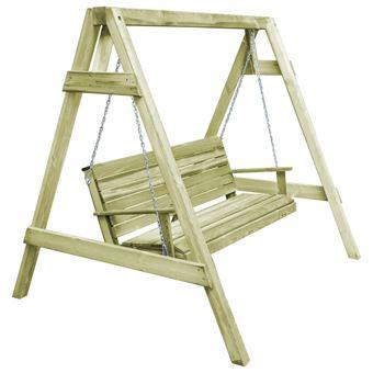 Cadeira de Baloiço de Jardim vidaXL em Pinho Impregnado 215X171X180 Cm